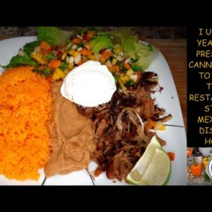 "MAKE RESTAURANT STYLE ""CARNITAS"" WITH RICE, REFRIED BEANS, & PICADILLO"